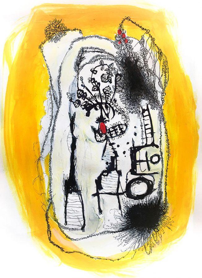 Julia Ledyard abstracts, mixed media
