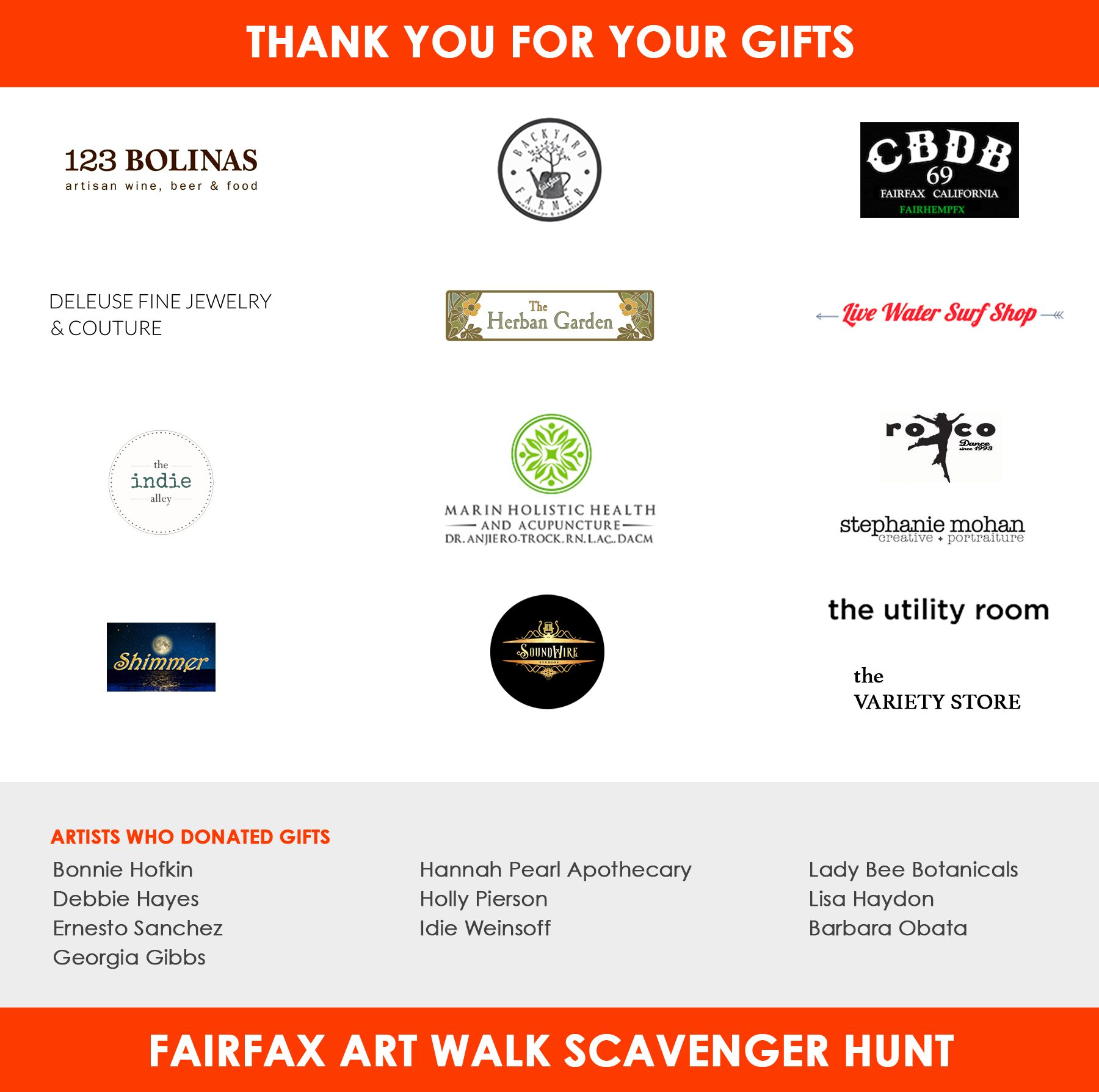 Thank you artists and Fairfax Businesses